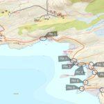 Referansepunkter i kartet på den planlagte turstien
