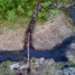 Foto fra drone som tydelig viser stor slitasje på myra